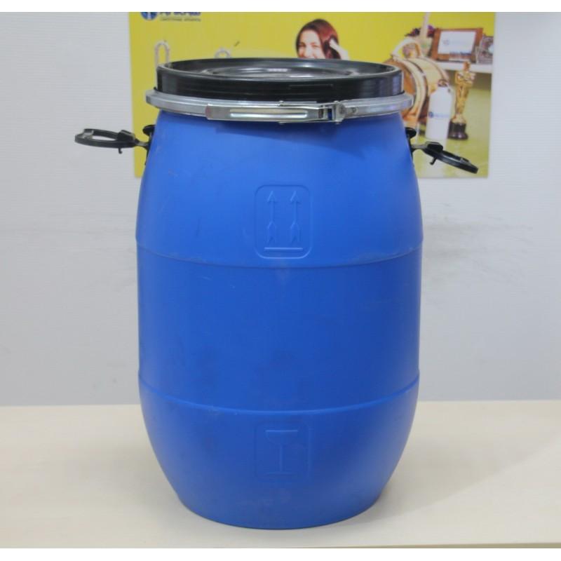 Бочка синяя пластиковая 65 литров с крышкой на обруч