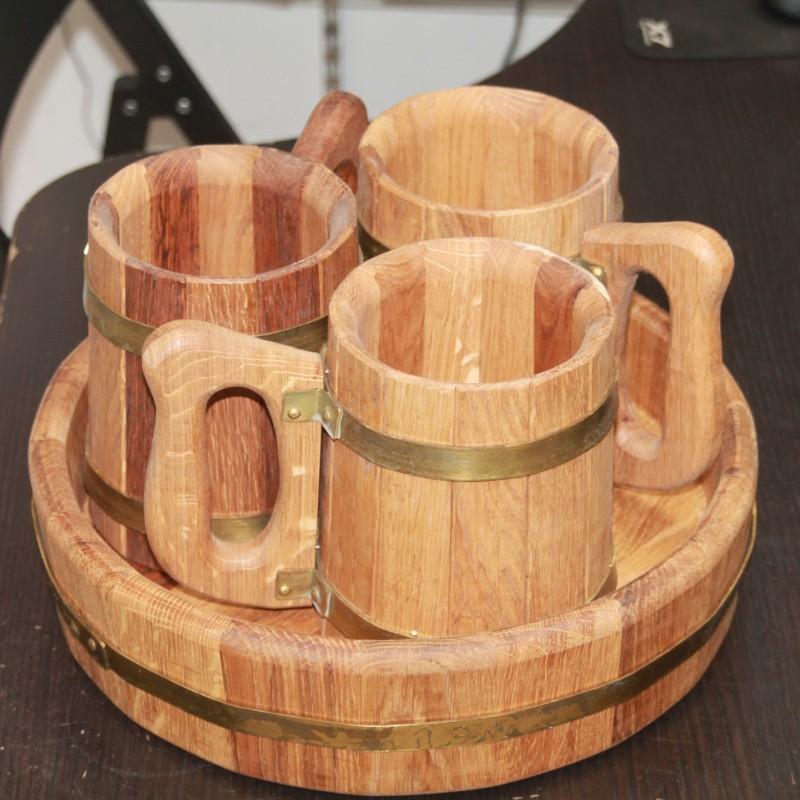 Пивной набор из 3 кружек для пива, вина и кваса на подносе
