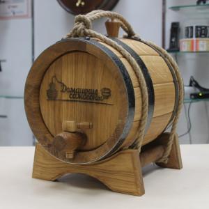 Бочка фирменная Домашние самогоны(ПРЕМИУМ) 5 литров с подставкой